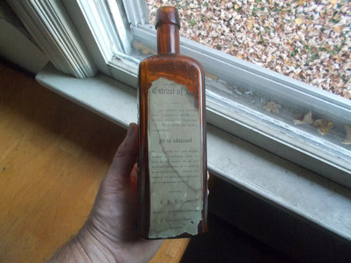 C.A.RICHARDS 99 WASHINGTON ST BOSTON RARE EXTRACT OF RYE LABELED SQUARE BOTTLE