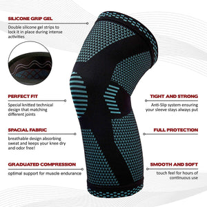 POWERLIX Knee Compression Sleeve - Best Knee Brace for Men & Women – Knee Support for Running, Basketball, Weightlifting, Gym, Workout, Sports – Please Check Sizing Chart
