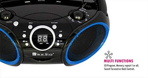 SINGING WOOD Portable CD Player AM FM Analog Tuning Radio with Aux Line in, Headphone Jack, Foldable Carrying Handle (Black with a Touch of Blue Rims) SBX030C-BU