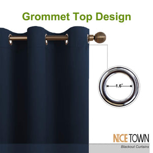NICETOWN Blackout Draperies Curtains, All Season Thermal Insulated Solid Grommet Top Blackout Curtains/Drapes for Kid's Room (Navy, 1 Pair,29 x 45 Inch)