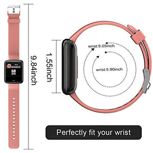Lintelek Smart Watch, Smartwatch Blood Pressure Monitor, 1.3 Inch Fitness Tracker HR with Sleep Monitor, Fitness Watch Compatible with iPhone, Samsung and Android Phones for Men, Women and Gifts H19 Small Pink