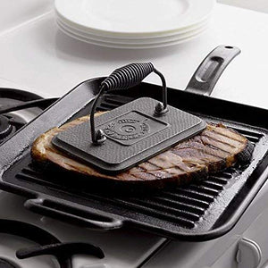 "Lodge Rectangular Cast Iron Grill Press. 6.75 x 4.5"" Cast Iron Grill Press with Cool-Grip Spiral Handle."