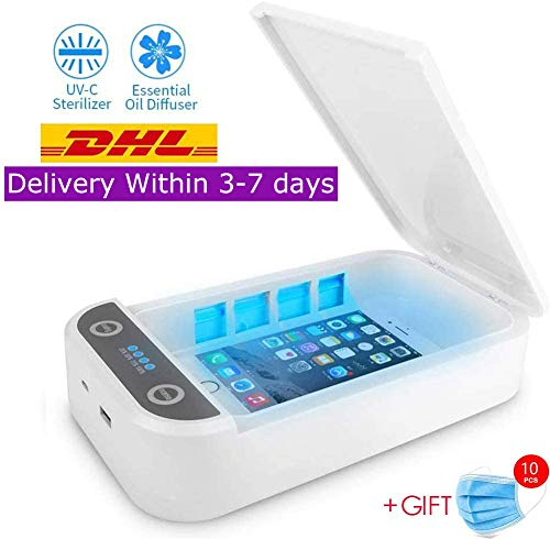 EVGLOW Phone Uv Sanitizer, Portable UV Light Cell Phone Sterilizer, Aromatherapy Function Disinfector, Cell Phone Cleaners UV Light Sanitzier Box for iOS Android Smartphones DisinfectionJewelry Watch