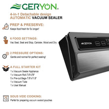 Load image into Gallery viewer, GERYON Vacuum Sealer Machine, Automatic Food Sealer for Food Savers w/Starter Kit|Led Indicator Lights|Easy to Clean|Dry & Moist Food Modes| Compact Design (Silver)