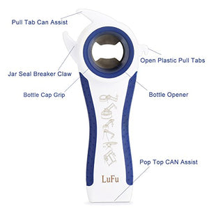Multi-Function Professional 6 in 1 LUFU Bottle Opener. Being Effort-Saving, Safe and efficient in Bottle Opening, Comfortable Beautiful Non-Slip Handle with Rubber Coating. (Blue)