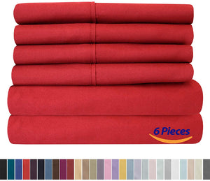 Sweet Home Collection Quality Deep Pocket Bed Sheet Set - 2 EXTRA PILLOW CASES, VALUE, Queen, Samba Red, 6 Piece