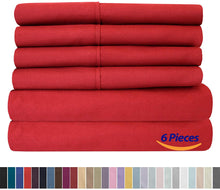 Load image into Gallery viewer, Sweet Home Collection 6 Piece 1500 Thread Count Brushed Microfiber Deep Pocket Sheet Set - 2 EXTRA PILLOW CASES, VALUE, RV Short Queen, Samba Red