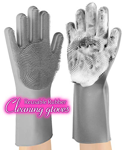 anzoee Reusable Silicone Dishwashing Gloves, Pair of Rubber Scrubbing Gloves for Dishes, Wash Cleaning Gloves with Sponge Scrubbers for Washing Kitchen, Bathroom, Car & More (Gray) 8541813512