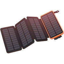 Load image into Gallery viewer, Solar Charger 25000mAh, Hiluckey Outdoor Portable Power Bank with 4 Solar Panels, Fast Charge External Battery Pack with Dual 2.1A Output USB Compatible with Smartphones, Tablets, etc. (Waterproof) HI-S025 Orange