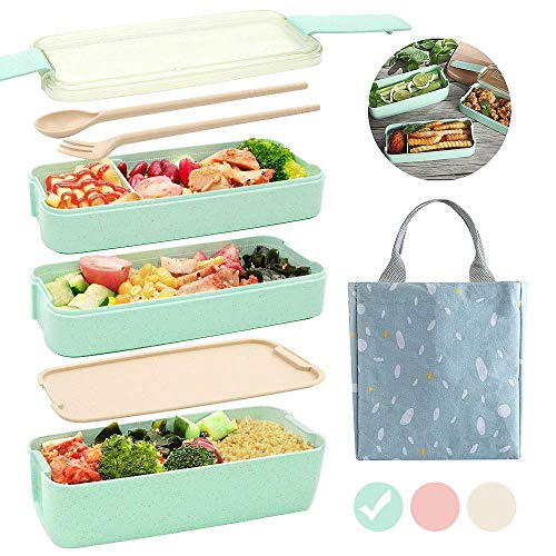 Ozazuco Bento Box Japanese Lunch Box, 3-In-1 Compartment, Wheat Straw, Leak-proof Eco-Friendly Bento Lunch Box Meal Prep Containers for Kids and Adults (Green) 1 pack