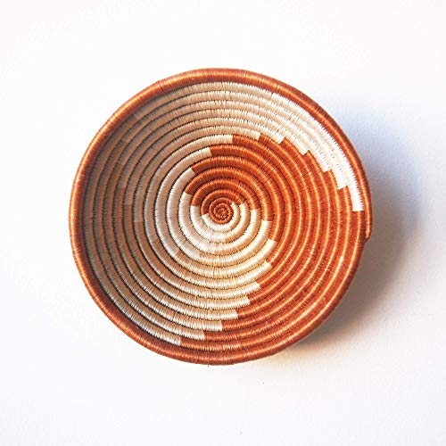 Amsha Small African Basket- Juru/Rwanda Basket/Woven Bowl/Sisal & Sweetgrass Basket/Burnt Sienna, Tan, White