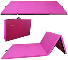"Load image into Gallery viewer, BalanceFrom BFGR-01PK All-Purpose Extra Thick High Density Anti-Tear Gymnastics Folding Exercise Aerobics Mats, 4' x 10' x 2"" One Size Pink"