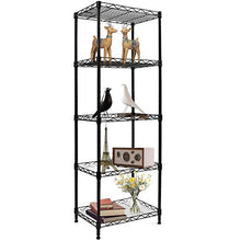 Load image into Gallery viewer, YOHKOH 5-Wire Shelving Metal Storage Rack Adjustable Shelves for Laundry Bathroom Kitchen Pantry Closet, Black