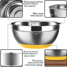 Load image into Gallery viewer, Stainless Steel Mixing Bowls Set of 6, Non Slip Colorful Silicone Bottom Nesting Storage Bowls by Umite Chef, Polished Mirror Finish For Healthy Meal Mixing and Beating (1,1.5, 2.0, 2.5, 3.5, 7 QT)