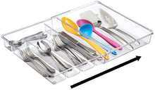 "Load image into Gallery viewer, mDesign Adjustable, Expandable Plastic Kitchen Cabinet Drawer Storage Organizer Tray - for Storing Organizing Cutlery, Spoons, Cooking Utensils, Gadgets - BPA Free, 2"" High - Clear"