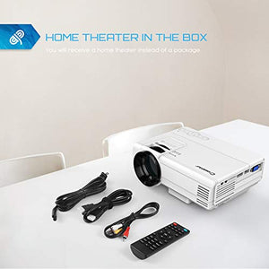 Projector, Crosstour Mini LED Video Projector Home Theater Supporting 1080P 55,000 Hours Lamp Life Compatible with HDMI/USB/SD Card/VGA/AV and Smartphone P600-NEW White