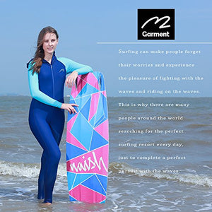 MZ Garment Wetsuit Full Suits for Women or Mens Modest Full Body Diving Suit & Breathable Sports Skins for Running Snorkeling Swimming (016-girl-blue, S) Small