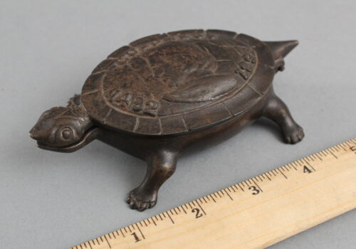 Antique Cast Iron 1893 Chicago World Fair Columbus Exposition Turtle Figural Box