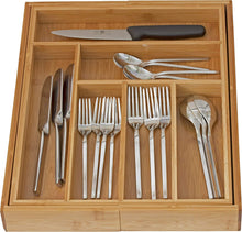 Load image into Gallery viewer, Home-it Expandable use for, Utensil Flatware Dividers-Kitchen Drawer Organizer-Cutlery Holder, Bamboo