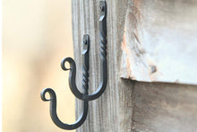 Load image into Gallery viewer, Wrought Iron Hooks-Set of 2- Hooks- Wrought Iron Hardware, Wrought Iron Home Decor, Wrought Iron Hooks Rustic, Wrought Iron Hanger