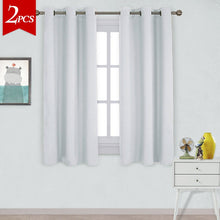 Load image into Gallery viewer, NICETOWN Window Treatment Thermal Insulated Grommet Room Darkening Curtains Drapes for Bedroom(2 Panels,42 by 63,Platinum-Greyish White)