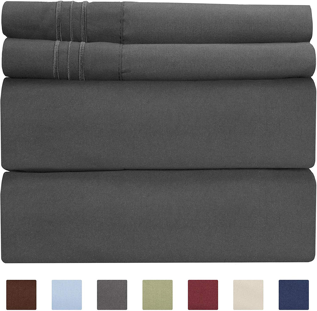 CGK Unlimited Split King Size Sheet Set - 5 Piece - Hotel Luxury Bed Sheets - Extra Soft - Deep Pockets - Easy Fit - Breathable & Cooling Sheets - Wrinkle Free - Comfy - Dark Grey Bed Sheets - Gray