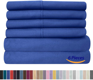 Cal King Size Bed Sheets - 6 Piece 1500 Thread Count Fine Brushed Microfiber Deep Pocket California King Sheet Set Bedding - 2 Extra Pillow Cases, Great Value, California King, Royal Blue