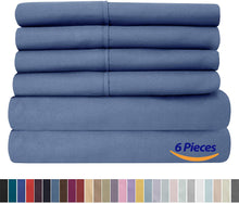 Load image into Gallery viewer, King Size Bed Sheets - 6 Piece 1500 Thread Count Fine Brushed Microfiber Deep Pocket King Sheet Set Bedding - 2 Extra Pillow Cases, Great Value, King, Denim