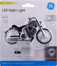 Load image into Gallery viewer, GE LED Motorcycle Night Light, Plug-In, Dusk-to-Dawn Sensor, Auto On/Off, Energy-Efficient, Soft White, Flames & Chrome Design, Ideal for Bedroom, Playroom, Bathroom, & More, Black/Silver, 10904