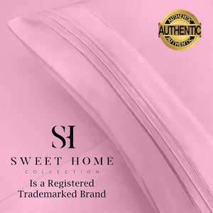 1500 Supreme Collection Bed Sheets Set - Premium Peach Skin Soft Luxury 4 Piece Bed Sheet Set, Since 2012 - Deep Pocket Wrinkle Free Hypoallergenic Bedding - Over 40+ Colors - Queen Size, Pink