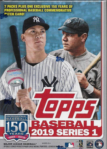 2019 Topps Baseball Series #1 Unopened Blaster Box of Packs with 99 Cards Including One EXCLUSIVE MLB 150th Anniversary Commemorative Patch Relic Card