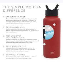 Load image into Gallery viewer, Simple Modern 18 oz Summit Water Bottle with Straw Lid - Gifts for Kids Hydro Vacuum Insulated Tumbler Flask Double Wall Liter - 18/8 Stainless Steel -Cherry