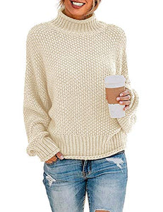 ZESICA Women's Turtleneck Batwing Sleeve Loose Oversized Chunky Knitted...