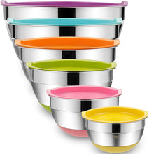 Load image into Gallery viewer, Mixing Bowls with Airtight Lids, 6 piece Stainless Steel Metal Bowls by Umite Chef, Measurement Marks & Colorful Non-Slip Bottoms Size 7, 3.5, 2.5, 2.0,1.5, 1QT, Great for Mixing & Serving
