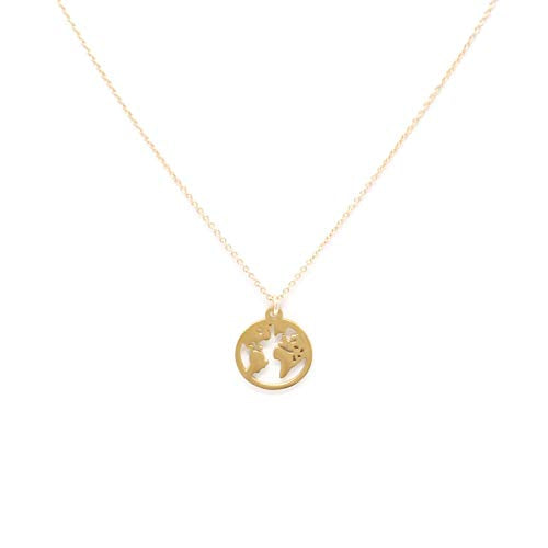 Love You More Jewelry Love You More World Necklace, Ladies Gold Plated Layering Necklace with Globe Charm, 100% of Profits Donated to Single Moms Affected By Coronavirus