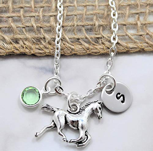 Sigmo Creations Horse Necklace - Horseback Riding Rodeo Jewelry - Horse Lover Gift - Little Girls Gift - Personalized Birthstone, Initial, Chain Length