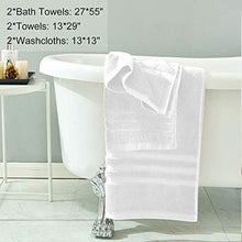 Load image into Gallery viewer, Josmon Towel Sets, 100% Cotton Bath Towels Set 6 Pieces for Bathroom, Luxury Highly Absorbent Hotel Spa Gym 2 Bath Towels 2 Hand Towels 2 Washcloths, White