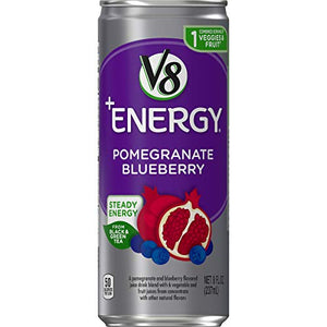 V8 +Energy, Healthy Energy Drink, Natural Energy from Tea, Pomegranate Blueberry, 8 Ounce Can (Pack of 24) 200000019621 24 Count (Pack of 1)