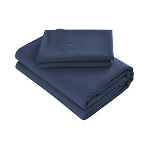 Prime Bedding Bed Sheets - 4 Piece Queen Sheets, Deep Pocket Fitted Sheet, Flat Sheet, Pillow Cases - Queen Sheet Set, Navy