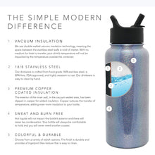 Load image into Gallery viewer, Simple Modern 18 oz Summit Water Bottle with Straw Lid - Gifts for Kids Hydro Vacuum Insulated Tumbler Flask Double Wall Liter - 18/8 Stainless Steel Shimmer: Blue Moonstone