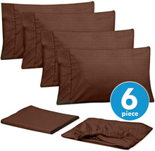 Load image into Gallery viewer, Cal King Size Bed Sheets - 6 Piece 1500 Thread Count Fine Brushed Microfiber Deep Pocket California King Sheet Set Bedding - 2 Extra Pillow Cases, Great Value, California King, Dobby Coffee