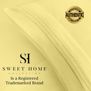 1500 Supreme Collection Extra Soft Full Sheet Set, Pale Yellow- Luxury Bed Sheet Set with Deep Pocket Wrinkle Free Hypoallergenic Bed Sheets, Full Size, Peach