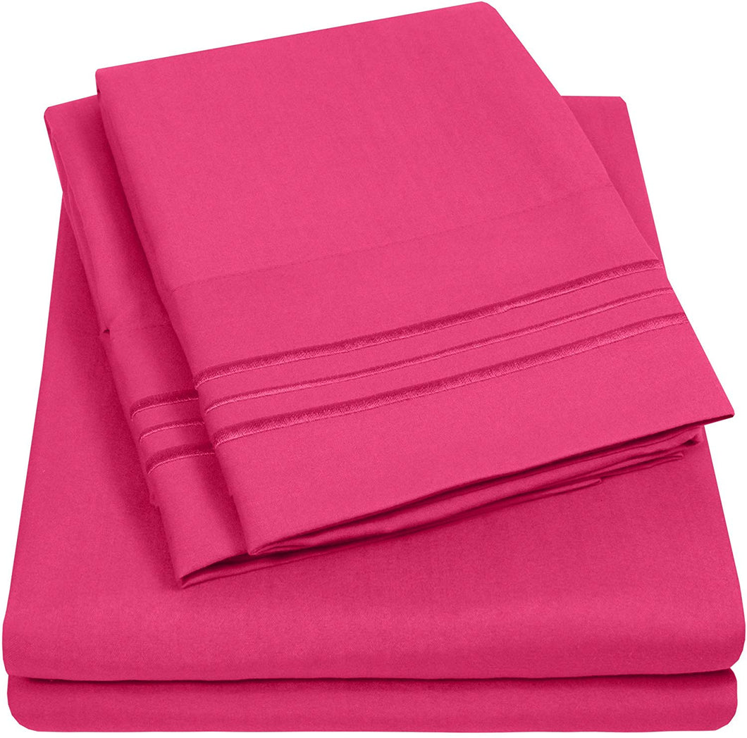 1500 Supreme Collection Extra Soft RV Queen Sheet Set, Fuscia- Luxury Bed Sheet Set with Deep Pocket Wrinkle Free Hypoallergenic Bed Sheets, King Size, Peach