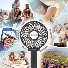 "Load image into Gallery viewer, VersionTECH. Mini Handheld Fan, USB Desk Fan, Small Personal Portable Table Fan with USB Rechargeable Battery Operated Cooling Folding Electric Fan for Travel Office Room Household Black HandFan 4.5""x 2.8""x 4.1"""