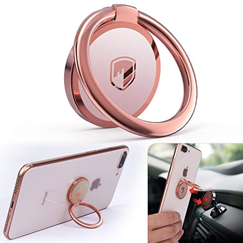 Phone Ring Holder Finger Kickstand - FITFORT 360° Rotation Metal Ring Grip for Magnetic Car Mount Compatible with All Smartphone-Rose Gold 5823833997