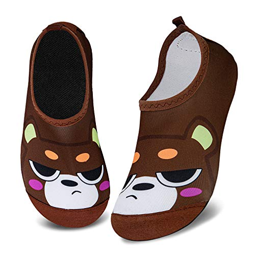 WateLves Kids Water Shoes Girls Boys Toddler Non-Slip Quick Dry Aqua Socks for Beach Swim Walking (Cartoon Bear, 16/17) Kid BaoTou Sock-Cartoon Bear-16/17 2-2.5 Infant