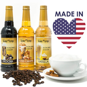 Jordan's Skinny Syrups | Sugar Free Salted Caramel Coffee Syrup | Healthy Flavors with 0 Calories, 0 Sugar, 0 Carbs | 25.4 Fl Oz (Pack of 2) Packaging may Vary