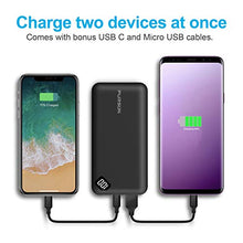 Load image into Gallery viewer, PURSUN 2020 Updated Ultra Compact 10000mAh Fast Charge Power Bank with Dual USB A and USB C Ports, Portable Charger with LED Digital Screen for iPhone, iPad, Samsung, Google Pixel, Nexus and More F1004 10000 mAh Black