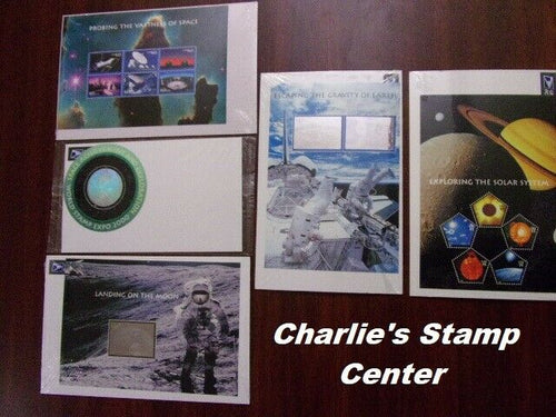 Full set #3409-13 Space Achievement Souvenir Sheets from a collection. MNH, OG.