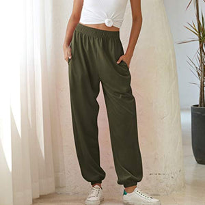 Hessimy Sweatpants with Pockets,Women's Running Jogger Sweatpants Lounge Workout Lightweight Legging Sweat Pants Pockets Army Green Small